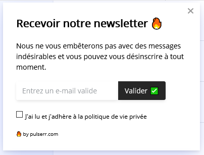 conversion grace à la collection d'adresses e-mail